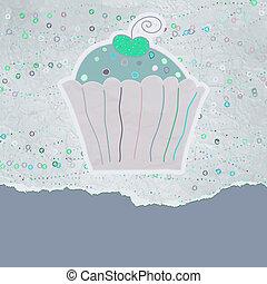 vendange, eps, carte anniversaire, 8, cupcake.