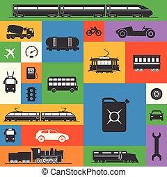 vendange, et, moderne, véhicule, silhouettes, collection, sur, couleur, squar