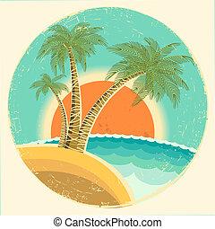 vendange, exotique, île tropicale, à, paumes, et, soleil, sur, rond, symbol.vector, icône, sur, vieux, fond