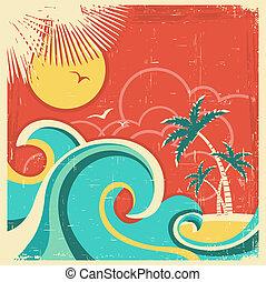 vendange, exotique, affiche, à, île, et, palms.vector, mer, fond, sur, vieux, papier, texture