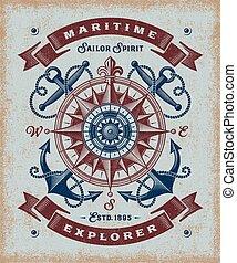 vendange, explorateur, maritime, typographie