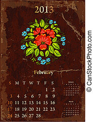 vendange, février, retro, calendrier, 2013
