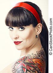 vendange, femme, à, a, tatouage