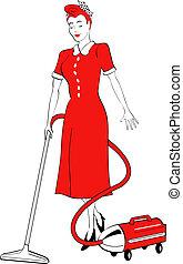 vendange, femme, art, nettoyer aspirateur, agrafe