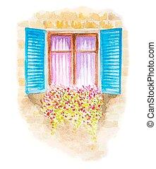 vendange, fenêtre, illustration, aquarelle, flowers., vecteur