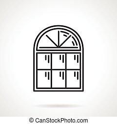 vendange, fenêtre, vecteur, arqué, icône