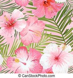 vendange, feuilles, -, seamless, exotique, vecteur, modèle fond, fleurs