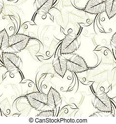 vendange, feuilles, vecteur, seamless, modèle