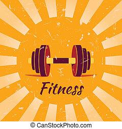 vendange, fitness, fond, affiche
