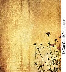 vendange, fleur papier, fond