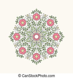 vendange, fleur, rond, design.