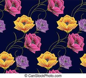 vendange, fleur, rose, seamless, modèle