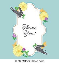 vendange, fleurs, carte postale, à, oiseau