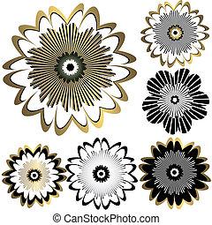 vendange, fleurs, conception, (vector)