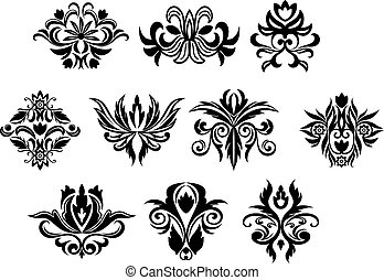 vendange, fleurs, ensemble, noir, fleurs