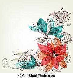 vendange, fleurs, fond