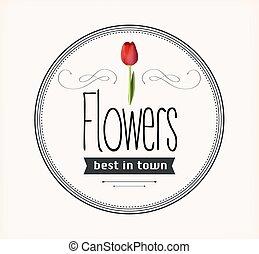 vendange, fleurs, retro, étiquette