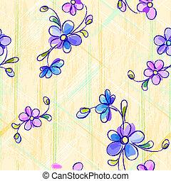vendange, fleurs, seamless, modèle
