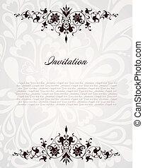 vendange, floral, frame., vecteur, fond, illustration