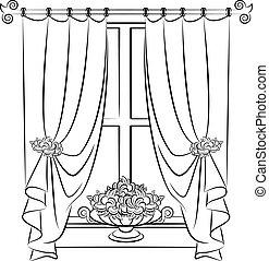 vendange, flowers., rideau