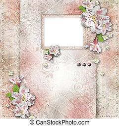 vendange, fond, à, cadre, et, fleurs, pour, félicitations, et, invitations