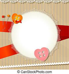 vendange, fond, à, dentelle, tissu, et, boutons