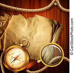 vendange, fond, compas