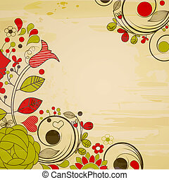 vendange, fond, floral