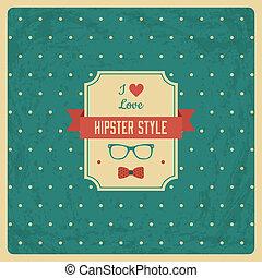 vendange, fond, hipster, étiquette