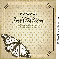 vendange, fond, invitations
