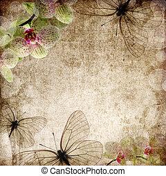 vendange, fond, orchidées