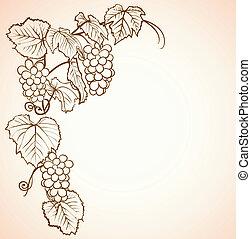 vendange, fond, raisins