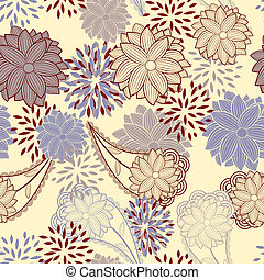 vendange, fond, seamless, floral