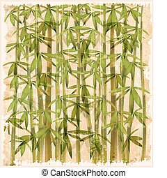 vendange, forêt bambou, illustration