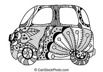 vendange, fourgon, voiture, mini