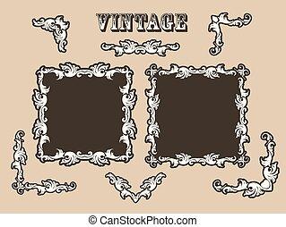 ensemble vendange cadre filigrane orn fronti re vecteurs eps rechercher des clip art. Black Bedroom Furniture Sets. Home Design Ideas