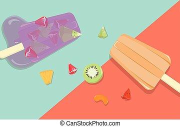 vendange, fruit, fait maison, fond, popsicles