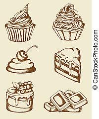 vendange, gâteaux, chocolat