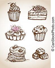 vendange, gâteaux, main, dessiné