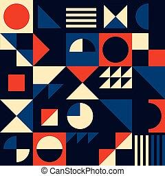 vendange, géométrique, moderne, cercles, résumé, 60, mid-...