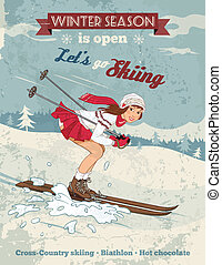 vendange, girl, épingle-augmentez, affiche, ski