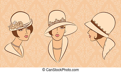 vendange, girl, mode, hat.