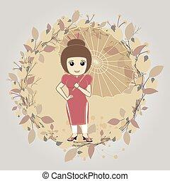 vendange, girl, parapluie, geisha
