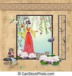 vendange, girl, scrapbooking., asiatique, motifs
