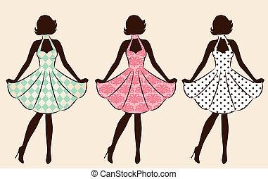 vendange, girl, silhouette