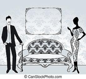 vendange, girl, silhouette, homme