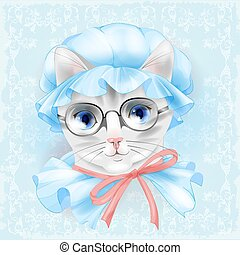 vendange, glasses., chat, victorien, portrait, style.