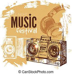 vendange, goutte, arrière-plan., éclaboussure, musique, retro, design.