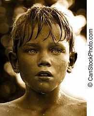 vendange, goutte, figure, eau, enfant, portrait