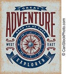 vendange, grand, aventure, typographie